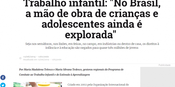 """""""No Brasil, a mão de obra de crianças e adolescentes ainda é explorada"""""""