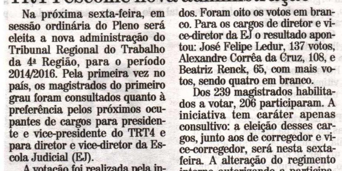TRT4 escolhe nova administração