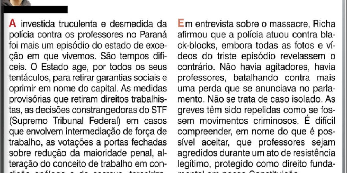 Massacre em Curitiba: estado de exceção e resistência