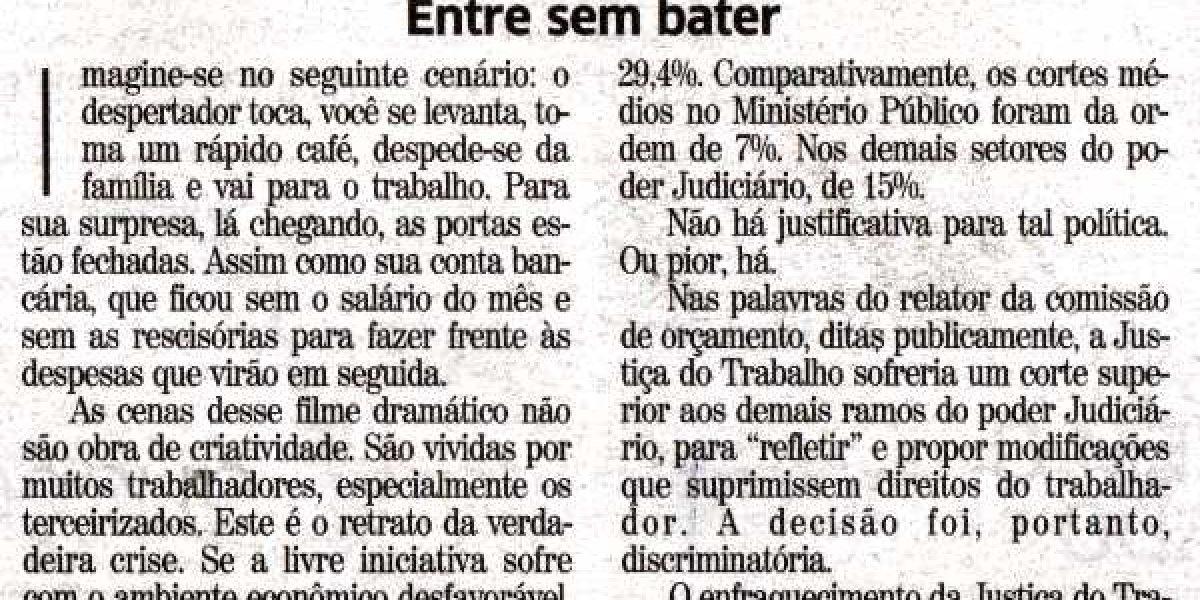 PELA VALORIZAÇÃO DA JUSTIÇA DO TRABALHO