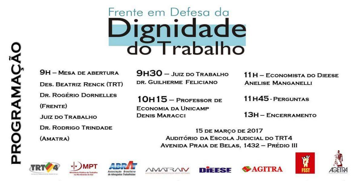 Nessa quarta-feira, às 9h: lançamento da Frente em Defesa da Dignidade no Trabalho