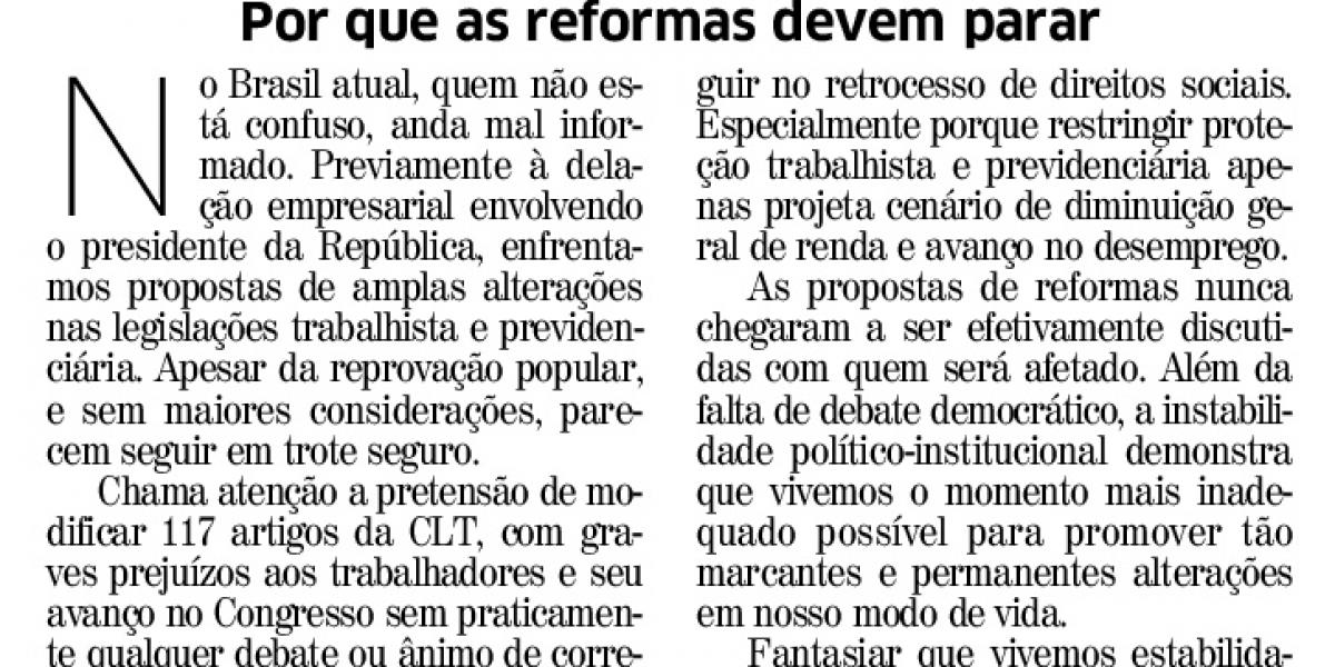 Por que as reformas devem parar: artigo no Correio do Povo