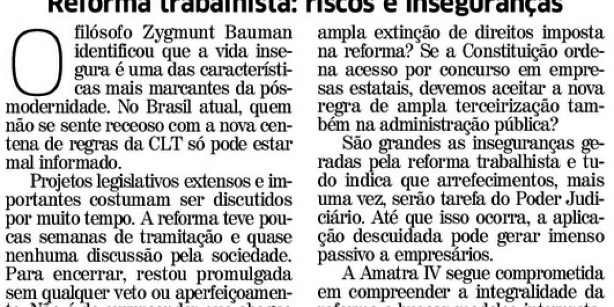 Artigo do presidente da AMATRA IV destaca os riscos da reforma trabalhista