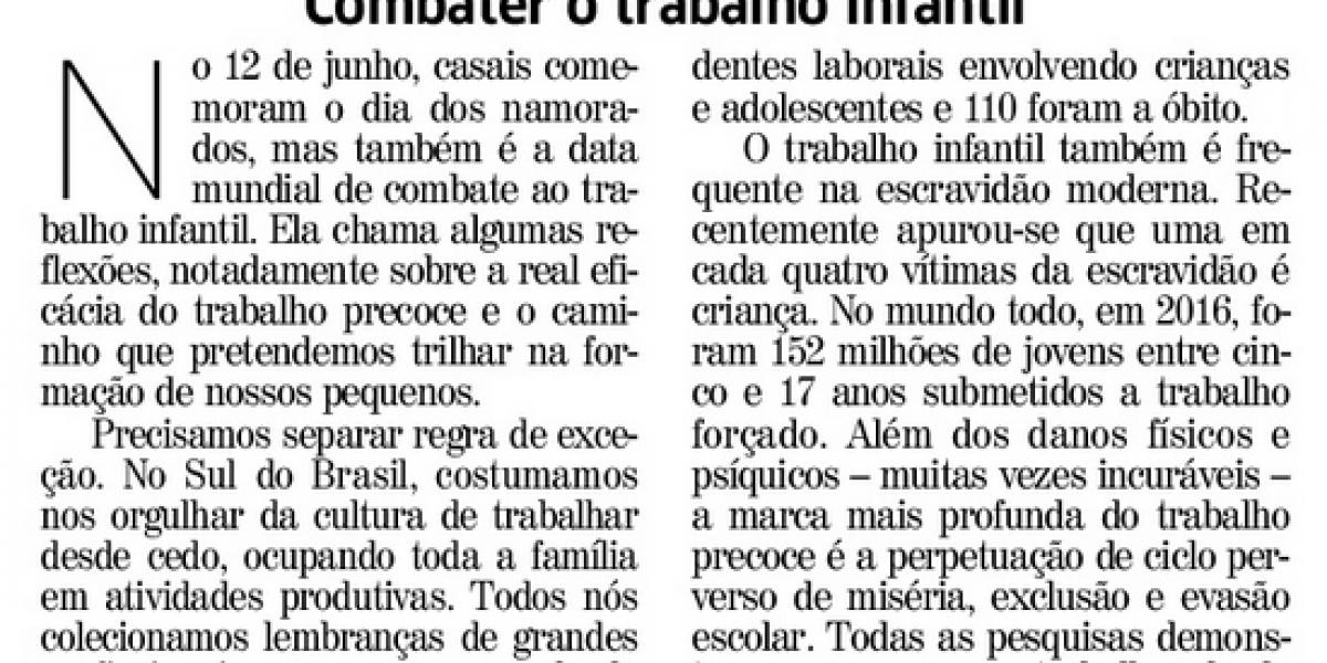 Presidente da AMATRA assina artigo sobre o trabalho infantil