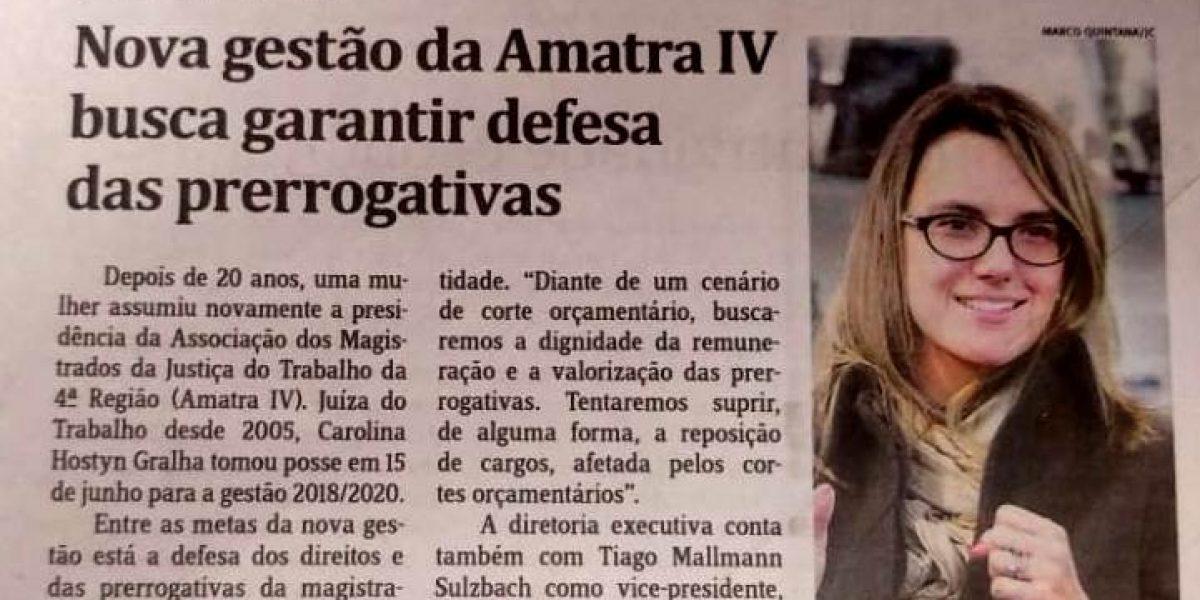 Notícia no Jornal do Comércio