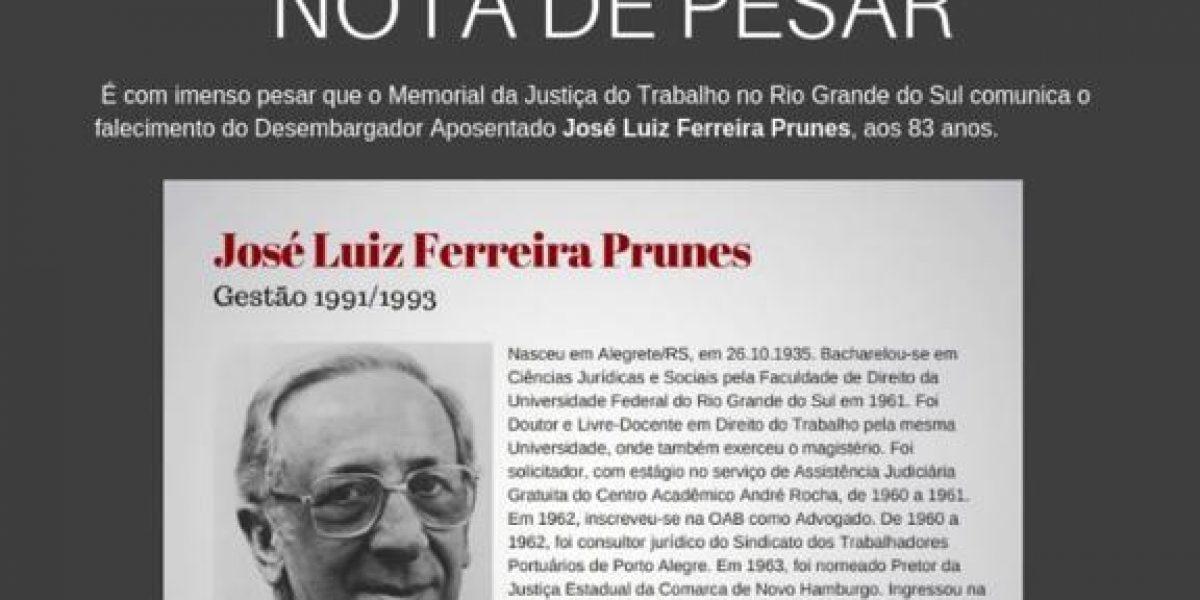 Nota de pesar: falecimento do desembargador José Luiz Ferreira Prunes