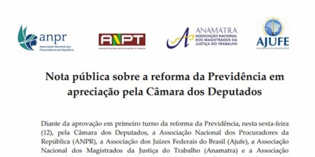 Nota pública sobre a reforma da Previdência em apreciação pela Câmara dos Deputados
