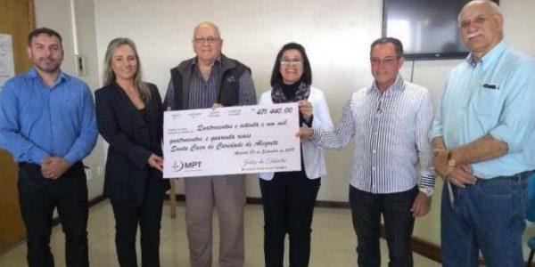 Justiça do Trabalho destina quase meio milhão de reais para a Santa Casa de Alegrete