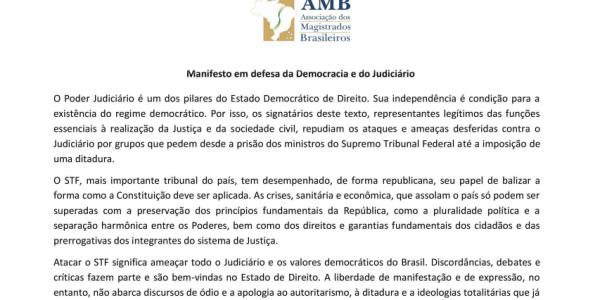 Manifesto em defesa da Democracia e do Judiciário