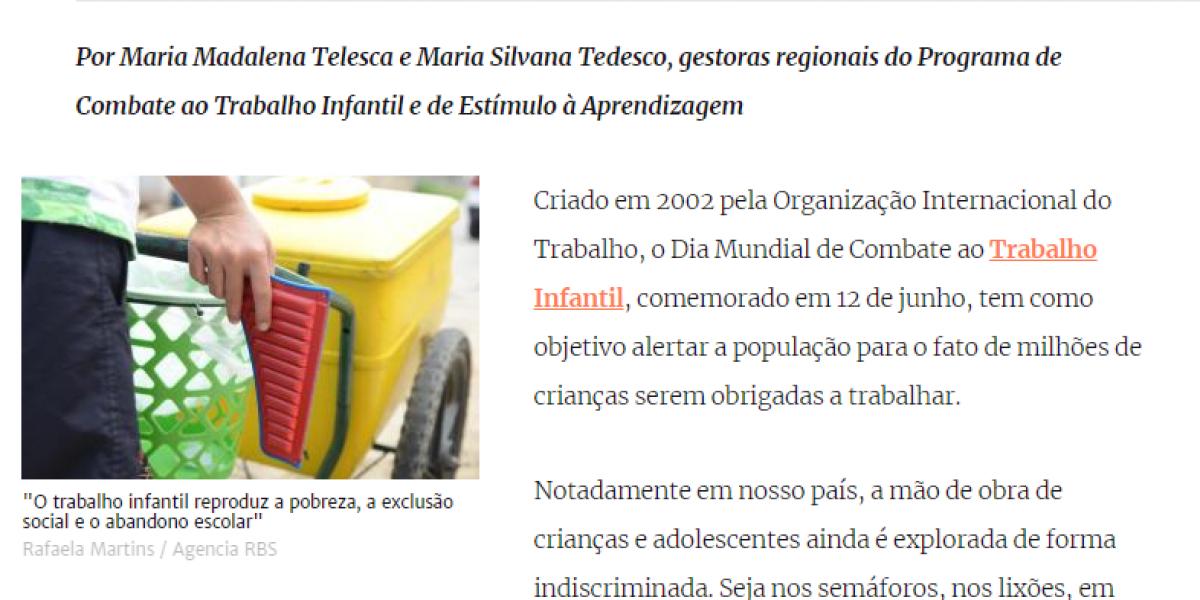"""Trabalho infantil: """"No Brasil, a mão de obra de crianças e adolescentes ainda é explorada"""""""